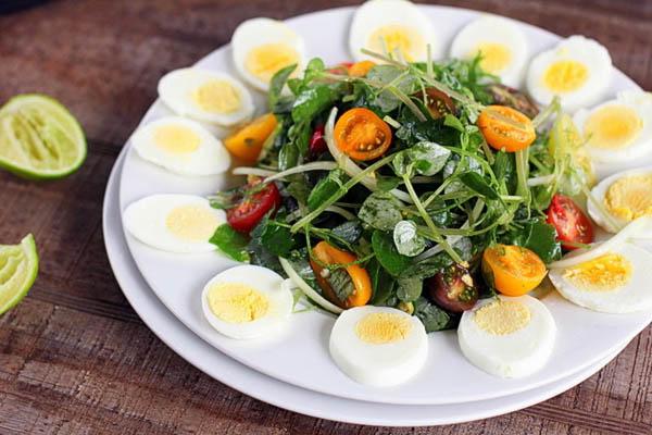 salad dầu giấm với rau càng cua