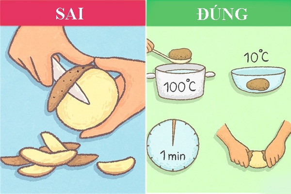 cách bóc vỏ khoai tây