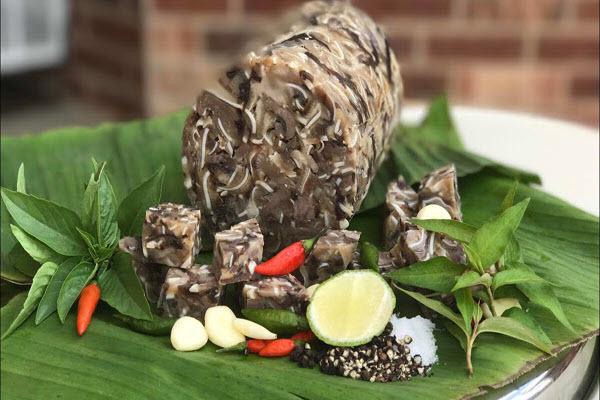 Hình lá chuối cuộn giò