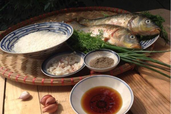 Hình nguyên liệu để nấu cá chép