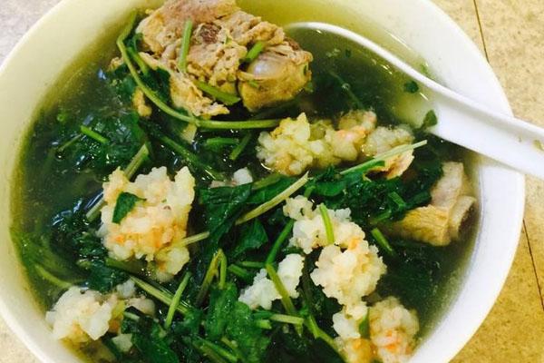 canh rau má nấu tôm