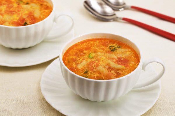canh trứng cà chua đậu phụ